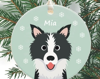 Dog Personalised Christmas Tree Decoration - Border Collie, Terrier, Collie, Pekingese - Cute Holiday Xmas Bauble