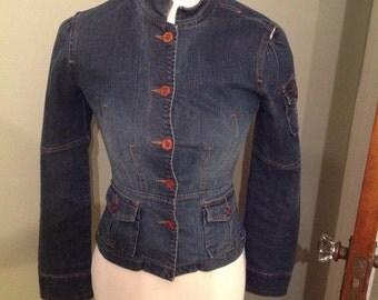 Vintage YMI Dark Denim Jacket, Nehru collar, Front buttons, Extra small,Distressed