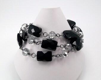 Black & Silver bracelet • 3 Strand Bracelet • Black Bracelet • Silver Bracelet •