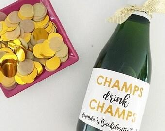 Champs Drink Champs- Mini Champagne Labels- Bachelorette Party Decor