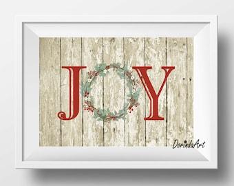 Christmas decor Rustic Christmas wall art Joy printable Christmas wreath Decoration Christmas card Wood 4x6 5x7 8x10 16x20 DIGITAL DOWNLOAD