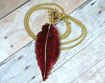 Red Feather Necklace Red Enamel Feather Necklace Red Feather Pendant Necklace Red Feather Gold Chain Necklace Red Feather Boho Necklace N109