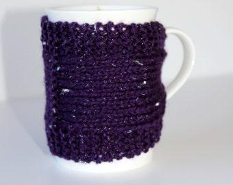 Knitted Mug Cozy - Mug Cozy - Coffee Cup Cozy - Glitter Cozy - Tea Cozy - Mug Jacket - Hot Drink Cozy - Purple Cozy - Knitted Drink Sleeve
