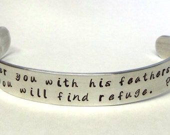 Bible Verse Bracelet ~ Personalized Scripture jewelry ~ Psalm 91 : 4 or your favorite verse