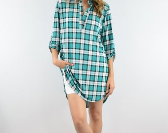 summer plaid tunic S to XL