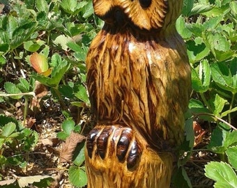 Owl Wood Carving, Owl Carving, Handmade, Chainsaw Carving, Wooden Sculpture, Rustic Decor, Garden Statue, Original, Pine, Made in USA