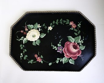 Floral Tray Tole Roses Reticulated