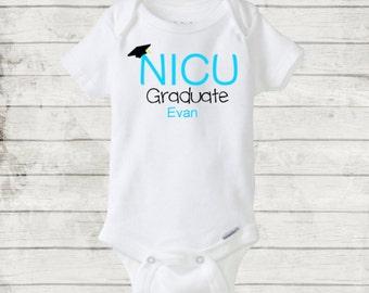 NICU Graduate Personalized Custom Onesie/Bodysuit. Preemie Baby Boy Blue Onesie. For your graduating NICU baby boy