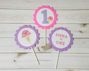 Ice Cream Party Cupcake Toppers, Sweet Treats, Ice Cream Social, Summer Party, 1st Birthday Theme, 2nd Birthday Theme, Girl Birthday, Decor