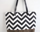 SALE tote black white chevron waxed canvas leather straps