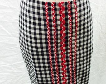 Black gingham skirt, fun, flirty, rockabilly, retro, country western