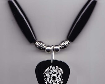 Queen Brian May Signature Black Guitar Pick Necklace