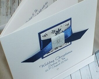 Personalised wedding acceptance card in blue, with envelope or box