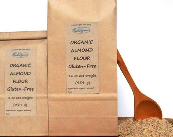 ORGANIC Almond flour, unblanched,  gluten free certified, 8 oz or 16 oz bag, from an USDA certified source