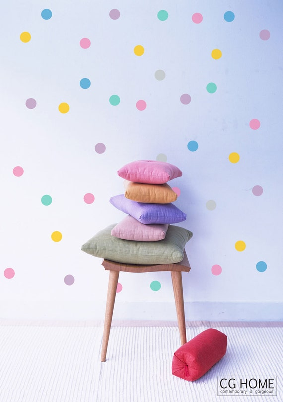 CONFETTI 4 inch Polka DOTS Wall Stickers Rainbow Wall Decal 10 colors for kids CGHOME Wall Art Nursery Kids Room decoration