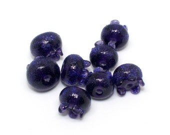 Mix Set of 8 Berries Bilberry Beads - 10, 11, 12 mm - Violet Blue Enamel - Handmade Lampwork Glass Beads