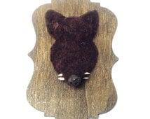 Miniature wild boar head - handmade - REAL 'teeth'