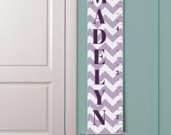 """Personalized Girl's Growth Chart """"Classic Chevron in Heather"""""""