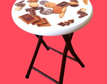 Stool COOKIES -- Decorated stool, white and brown by SophieLDesign