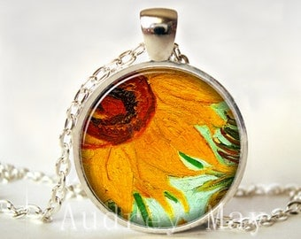 Sunflower Pendant, Sunflower Necklace,Sunflower Jewelry, Jewellery,Picture Pendant, Photo,Flower, Gift for, Print,Glass
