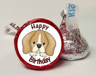 Happy Birthday Puppy Face Candy Labels ~ 108 Hershey Kiss Candy Label Stickers, Hershey Kiss Stickers