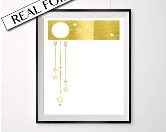 Gold nursery print, falling stars, stars and moon poster, gold arrows, baby room, prints for kids rooms, real gold foil nursery art