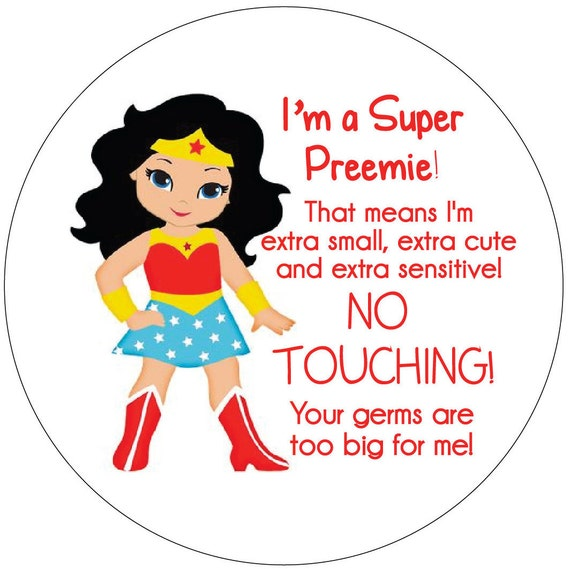 Wonder Woman Preemie, newborn, baby car seat tag, baby shower gift, stroller tag, baby Preemie no touching car seat sign