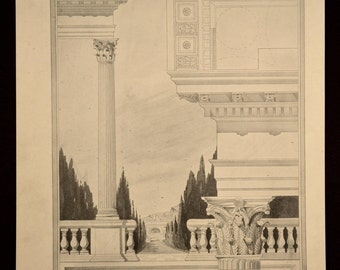 Column Print Details Antique Corinthian Architectural Book