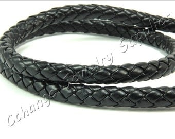 Leather Cords, 2 mt. Black Braided Cord, 8mm Leather Cords, Bolo Leathers, Imitation Leather, Round Leather Bolo Cord, Round Leather Cords