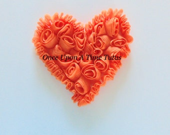 "Orange Shabby Chiffon 4"" Hearts -  Rose Trim - Shabby Chiffon Rosettes - Halloween Autumn Fall or Valentine's Day Hairbow Making Supplies"