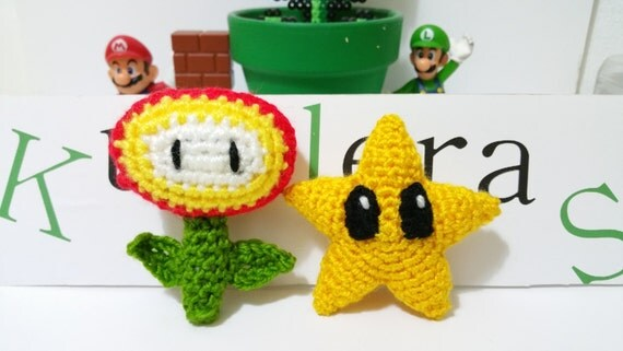 Amigurumi Fire Flower : FIRE FLOWER STAR Mario Luigi and pot not included super
