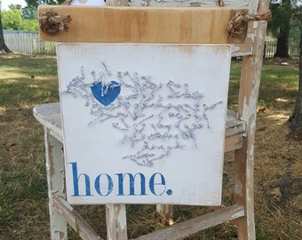 Cottage Chic South Carolina Sign made from Reclaimed Wood and Tied Twine Art