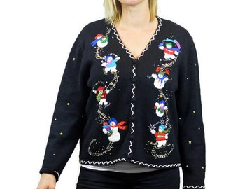 Ugly Tacky Christmas Sweater Black Petitie XL Sweater Party