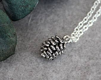 Silver Pinecone Necklace, Pinecone Necklace, Pinecone Pendant Necklace, Autumn Necklace, Dainty Pinecone Necklace, Small Pinecone Necklace