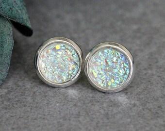 Crystal Stud Earrings, Crystal Earring Studs, Crystal Post Earrings, Crystal Druzy Stud Earrings, Clear Studs, Bridesmaid Earrings 8MM