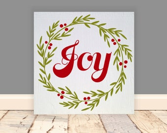 "Joy Wood Vinyl Sign 8""x8"". Christmas sign, Christmas wreath, Holiday wood sign, holiday sign, Christmas block, Christmas decor, mantle decor"