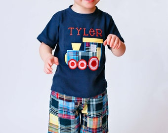 Boy Train Birthday Shirt with Embroidered Name - M1