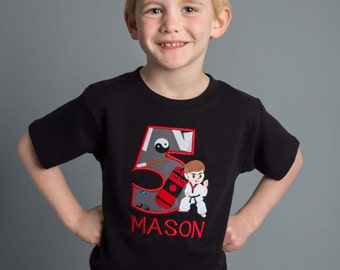 Boy Ninja Karate Birthday Shirt with Number and Embroidered Name