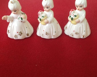 Vintage Bone china Christmas girls with presents Taiwan