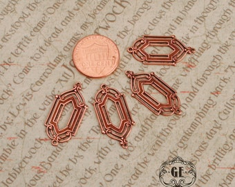 Rose Gold Deco Drops (4). Connectors. Jewelry supplies. Brass Stampings. Earring Findings. Art Nouveau. Edwardian. Victorian.