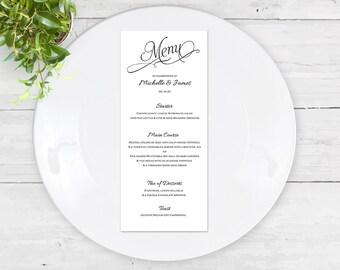 Rustic script menu card template| calligraphy Menu card | Instant download wedding|Editable card| DIYWord.doc|wedding templates-T042