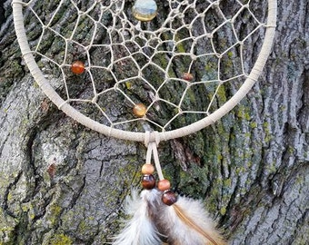 Blue Tiger Eye Dream Catcher with Carnelian and Gold stone