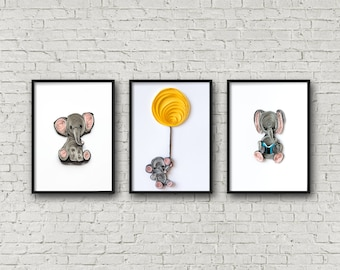 Elephant Nursery Art - Nursery Decor Wall Art- Nursery Decor Boy - Nursery Wall Art -  Set of 3 Prints - Elephant Nursery Prints- Kid Art