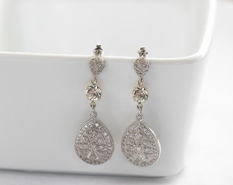 Bridal Earrings, Wedding Earrings, Rhinestone Earrings - Avery