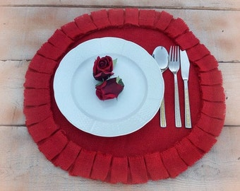 Red Burlap Placemat - Round Burlap Placemats - Burlap Placemats - Plate Charger - Ruffled Placemats - Set of 6 - Choose Color