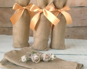 Wine Bag - Burlap Wine Bag - Wedding Wine Bag - Burlap Gift Bag - Wine Bottle Cosy- - Burlap Wine Holder - Set of 3