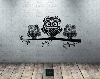 Owl wall decal - Owl on branch decal - Owl Decor - Owl Nursery Wall art Baby room tree mural decal Owl Vinyl wall decals Owl sticker