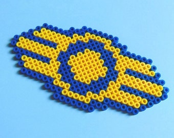 Hama/Perler Fuse Bead Fallout Inspired Vault Tec Pixel Art Bead Sprite, Magnet, Coaster, Video Games, 8 Bit, 8 Bit Art