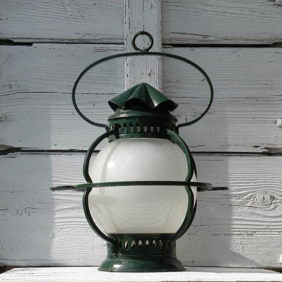 Large green metal hanging lantern, vintage hanging lantern, French hanging lantern, vintage globe light, retro lantern, shabby chic lantern