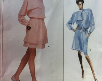 Vintage 80's Vogue 2107 Chloe Paris Original Misses' Dress Blouson Dress Pattern Sizes 12,14,16 uncut